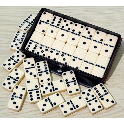 Double six dominoes with black spots & spinners 00120