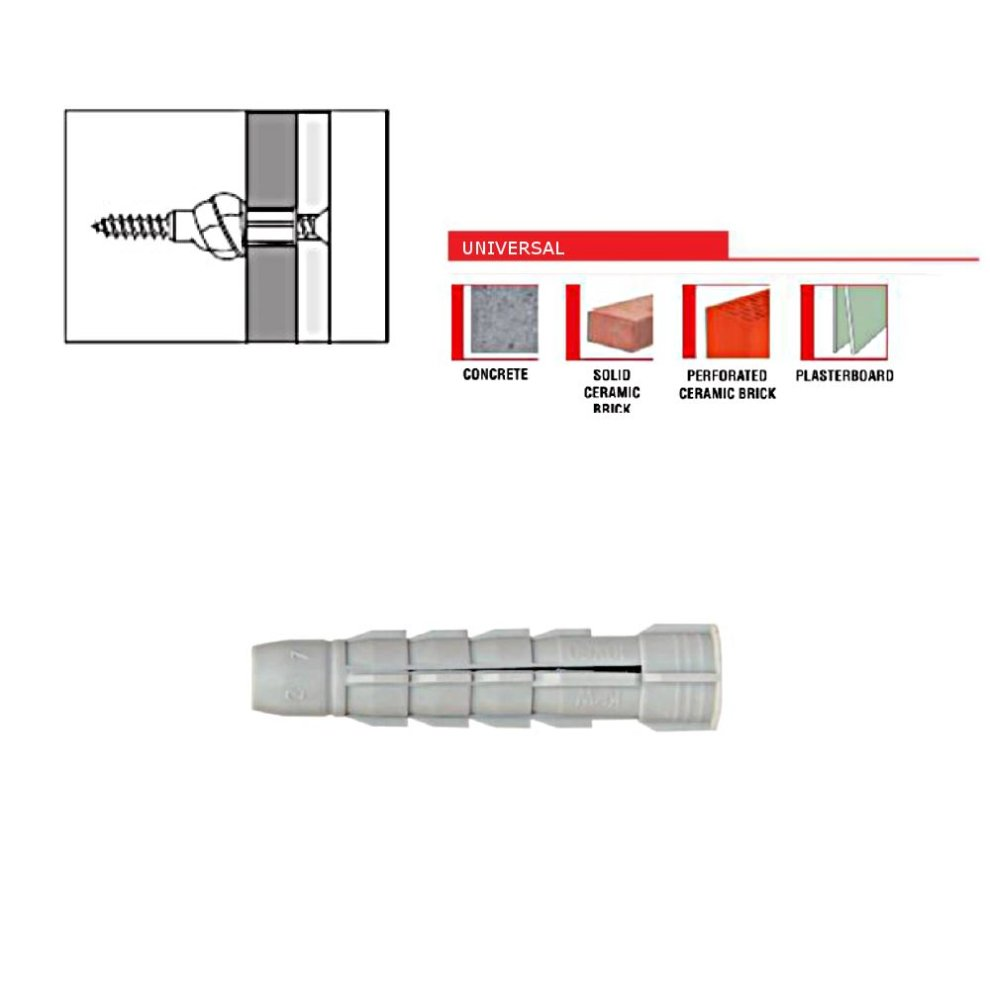 Forgefix RIM1260M Nylon Rimless Expansion Wall Plug