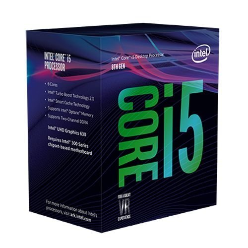 Intel Core i5-8400 CPU, 1151, 2.8 GHz (4.0 Turbo), 6-Core, 65W, 14nm, 9MB Cache, UHD GFX, Coffee Lake