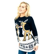 Miss Lulu Women Thicker Christmas Jumper Deer Knitted Sweater