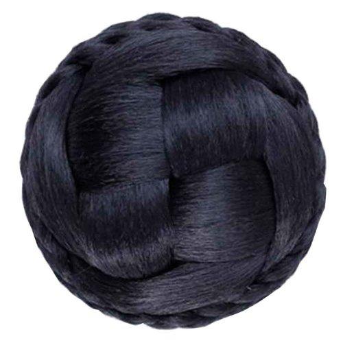 Handmade Fake Hair Bun, Hair Wigs, Easy to Wear [Natural Black]