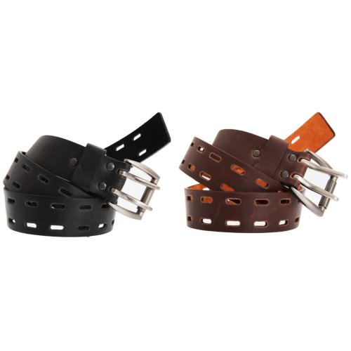 Forest Belts Mens 1.50 Inch Plain Leather Belt With Twin Pronged Buckle
