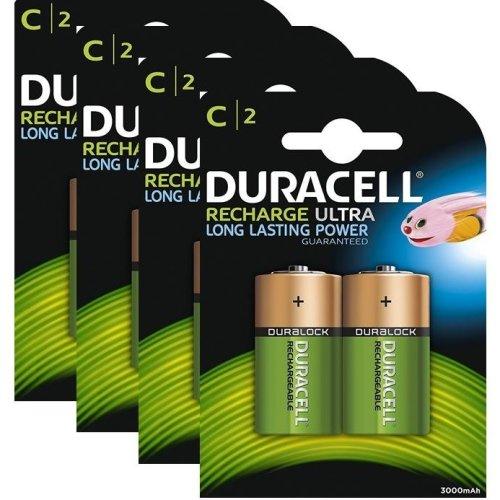 8 x Duracell C Size 3000 mAh Rechargeable Batteries NiMH LR14 HR14 DC1400 ACCU