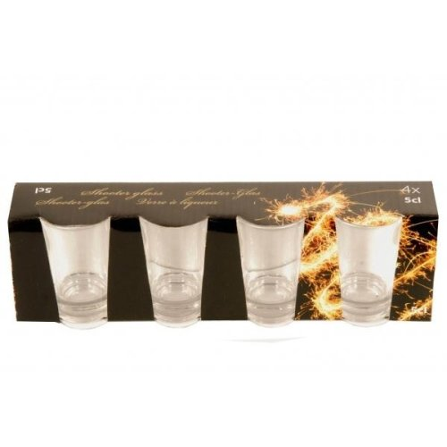 4 Piece Shot Glass Set 5Cl For Whisky Vodka Rum Cordials Glasses