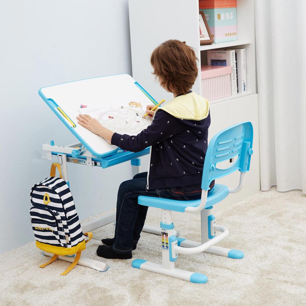 ergonomic kids desk chair height adjustable children table. Black Bedroom Furniture Sets. Home Design Ideas