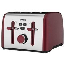 Breville Colour Notes 4 Slice Toaster With Browning Control  - Red (VTT628NO)