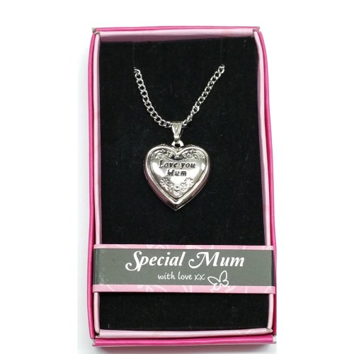 Love You Mum Love Locket Gift Boxed Pendant, Mother's Day, Birthday, Christmas, Any Occasion Gift
