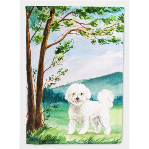 Carolines Treasures CK2582CHF Under the Tree Bichon Frise Flag Canvas House Size