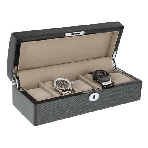 Carbon Fibre Finish Watch Box with Chrome fittings for 5 watches by Aevitas