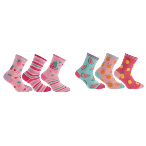Childrens/Girls Cotton Rich Assorted Fruit Design Socks (Pack Of 3)