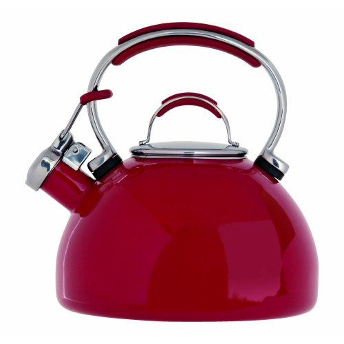 Prestige Enamel 2 Litre Stove Top Whistling Kettle - Red