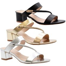 Womens Block Heels Diamante Strappy Party Sandals