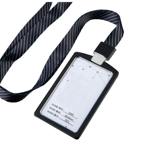 Aluminum Alloy Vertical Style ID Card Badge Holder with Neck Lanyard Strap 3PCS, 38