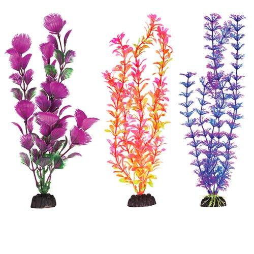 "Plastic Aquarium Plants 12"" Penn Plax, Pack Of 6 Coloured Assorted"