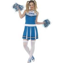 Cheerleader Costume, Blue, With Dress & Pom Poms -  cheerleader ladies fancy dress costume cheerleading outfit pom poms xsl high school sports