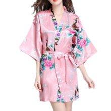 Charming Women Bathrobe Blossoms Peacock Kimono Silk Robes Gown-Coral Red