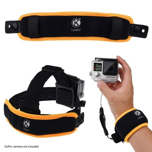 2in1 Floating Wrist Strap & Headstrap Floater - For GoPro Hero 7/6 / 5/4, Session, Black, Silver, Hero+ LCD, 3+, 3, 2, 1 - Prevents Your Camera...