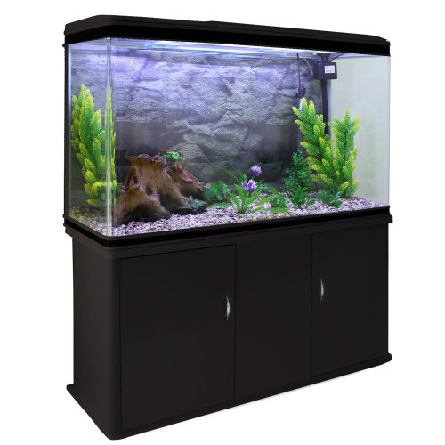 Aquarium Fish Tank Cabinet Complete Set Up Black Tank Natural Gravel