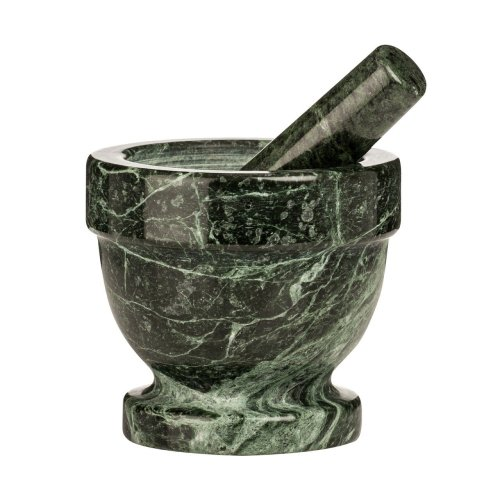 Mortar and Pestle Green Marble Crush Grind Herbs Spices