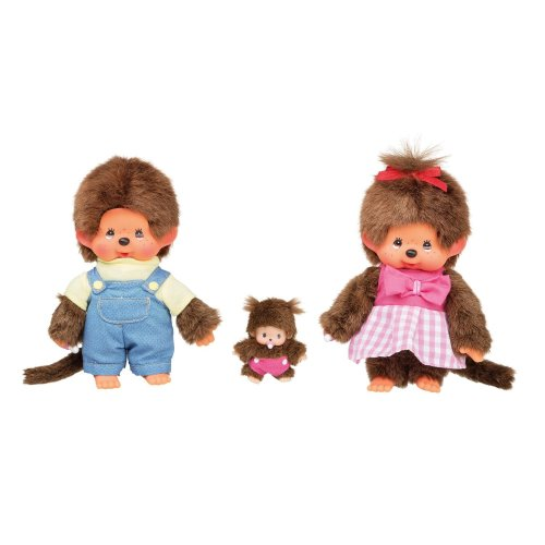 Sekiguchi 254870 Monchhichi Family Plush Toy Set Boy / Girl with Baby