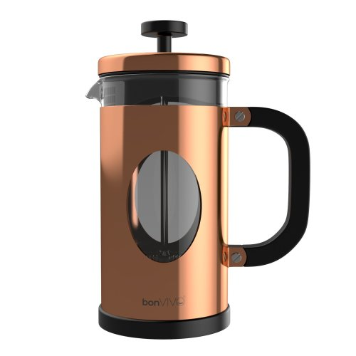bonVIVO GAZETARO I French Press Coffee Maker, Stainless Steel Cafetiere With Glass Jug, Coffee Plunger With Filter, Manual Coffee Maker With Copper...