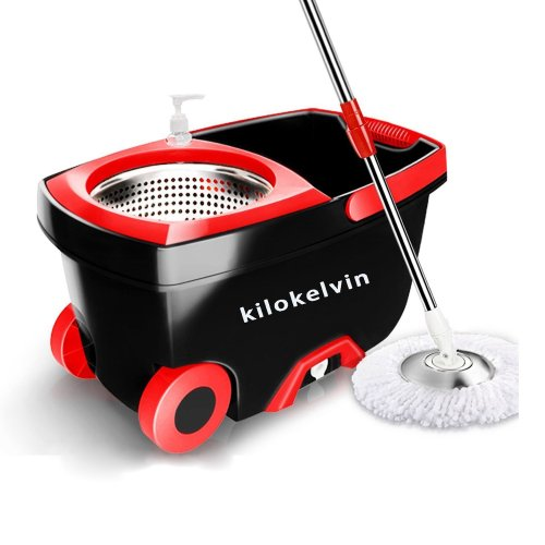 kilokelvin Spin Mop Bucket System Easy Wringer Microfiber Spinning Mop with 61 Inch Extended Handle, 2x Wheels, Stainless Steel Drainage Basket, 2...