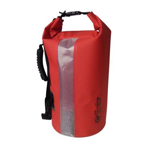 Surfing Camel Waterproof Dry Bag 20L Roll Top Sack 500D PVC Tarpaulin With Side Handle, Shoulder Strap And Viewing Pane