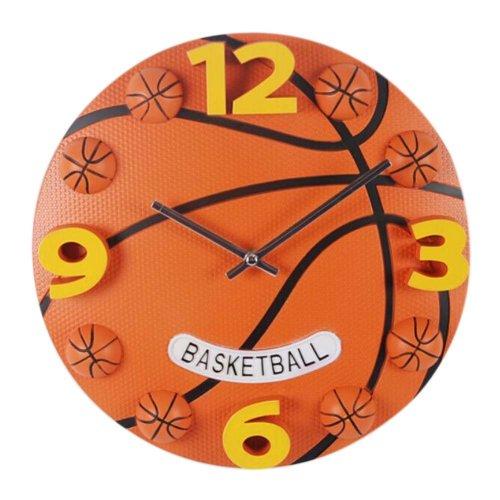12 inch Creative Basketball Decorative Wall Clock/Children Quartz Watch, ORANGE