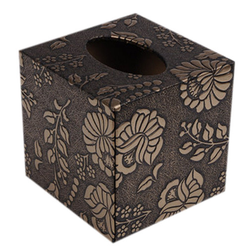 Square Elegant Tissue Box/Tissue Holders With Golden Flowers Carved Patterns