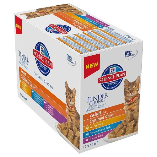 Hill's Science Plan - Cat Feline Pouches - Wet Food - Adult Favourite Selection in Gravy (24 Pouches)