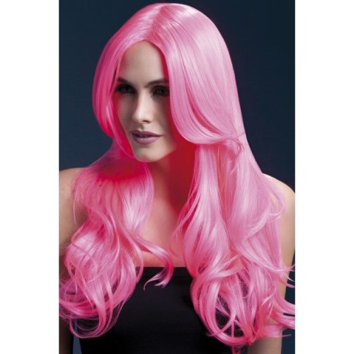Fever Women's Khloe Wig, One Size, Neon Pink -  wig khloe pink fever neon long fancy dress ladies 26inch66cm wave centre smiffys bright