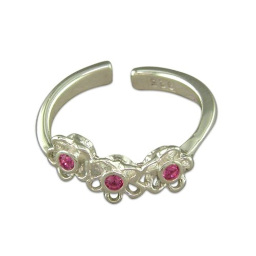 Sterling Silver Triple Crystal Flower Toe Ring