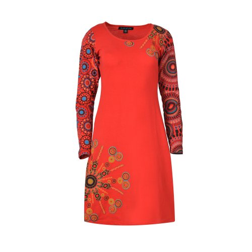 Women's Long Sleeve Dress with  All Over Sleeves Print Design Evening dress