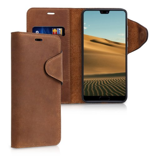 sneakers for cheap 01d92 05c9e kalibri Wallet Case for Huawei P20 Pro - Genuine Leather Book Style  Protective Cover with Card Slot - Brown