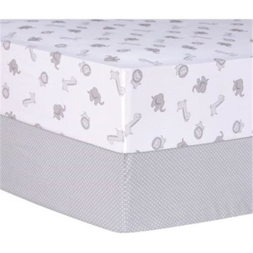 Trend-Lab 103194 Gray Safari and Dot Fitted Crib Sheets