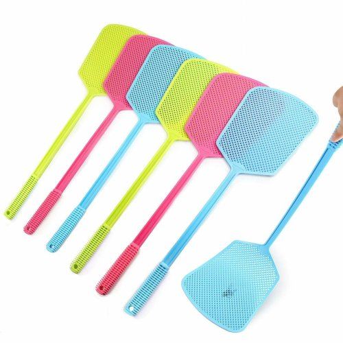 RayPard Plastic Fly Swats Swatter by, Pest Control Multi-colors Plastic Handle for Flies 6 Pack