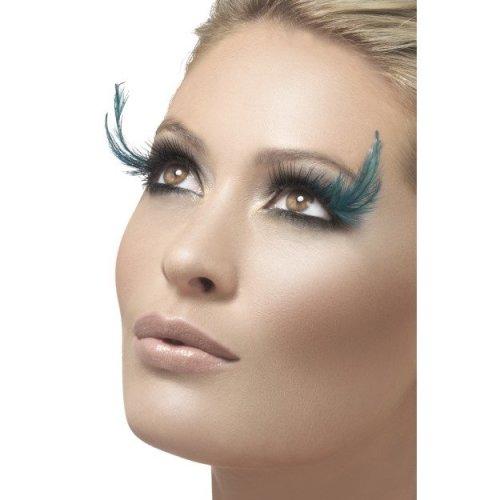 Black Green Ladies Eyelashes With Feather Plume -  green black eyelashes feather glue fancy dress smiffys plume