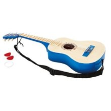 Hape Vibrant Guitar Kids Toddler Wooden Musical Instrument in Blue