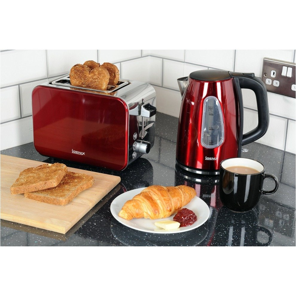 b36552651834 ... Igenix IGPK10 Breakfast Set Kettle and 2 Slice Toaster - Metallic Red -  1 ...