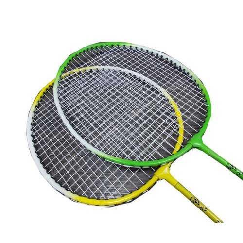 Set of 2 Cheap Recreational Badminton Rackets Yellow & Green Badminton Racquets