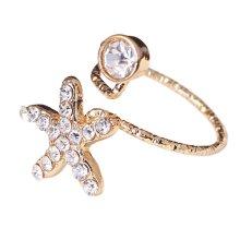 Stylish Finger Nail Ring Nail Decoration Adjustable Joint Ring, Starfish,Golden