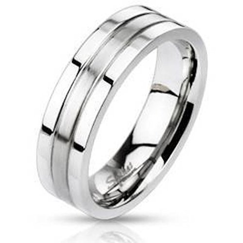 Double Grooved Brushed Steel Centered Surgical Steel Band Ring