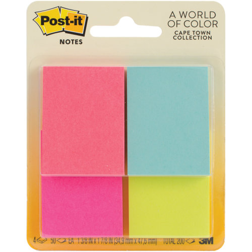 """Post-It Notes 1.5""""X2"""" 4/Pkg-Capetown W/50 Sheets"""