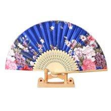 Blue Folding Fan Handmade Hand Held Fan for Cosplay Dancing Props Wedding Gift