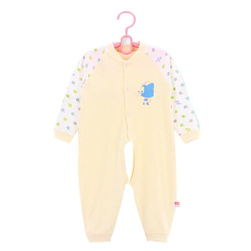 Baby Suit Clothing Long-Sleeved Cotton Baby Crawl Sports Open Fork Cotton Yellow