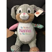 Harlequin Bunny - Personalised Embroidered Message, Name or Birth Date