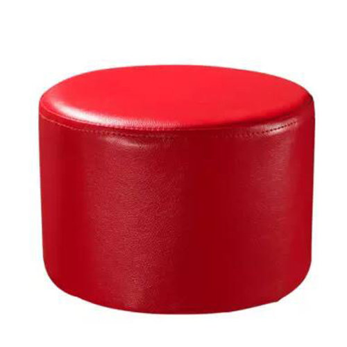 Round Faux Leather Modern Small Stool Shoes Stool  Sofa Pier Ottoman Stool, Red