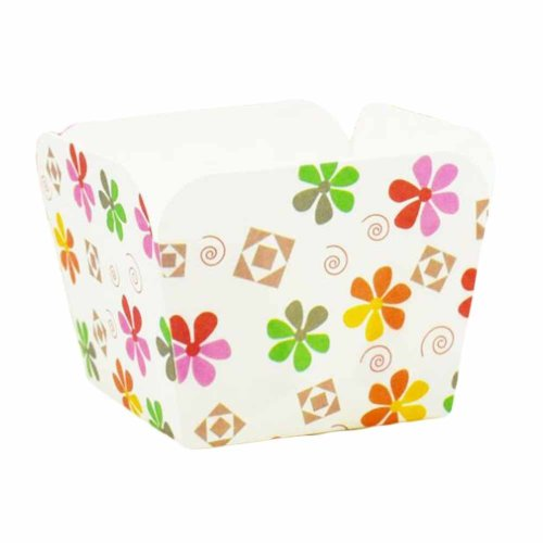 100 Pcs Heat-resistant Cupcake Paper Baking Cup Square Muffin Cup, Cute Flower