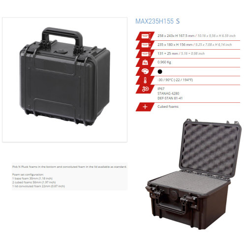 Original Panaro IP67 Professional Waterproof Cases - Box - Trunk - more (MAX235H155S BLACK)