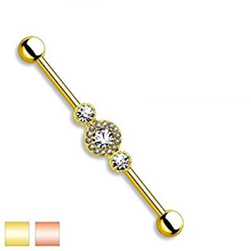 Triple Clear Crystal Encrusted Centre Industrial Scaffolding Bar Piercing Thickness : 1.6mm Length : 38mm Material : Surgical Steel